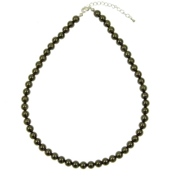 Collier en obsidienne oeil célèste - Perles rondes. - Photo n°3