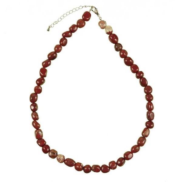 Collier en jaspe rouge - Perles pierres roulées. - Photo n°2