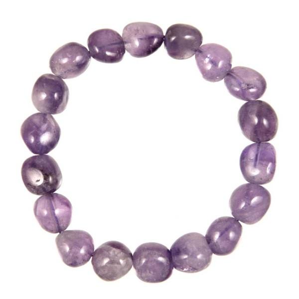 Bracelet en améthyste - Perles pierres roulées. - Photo n°2