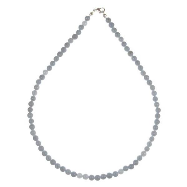 Collier en angélite - Perles rondes. - Photo n°2