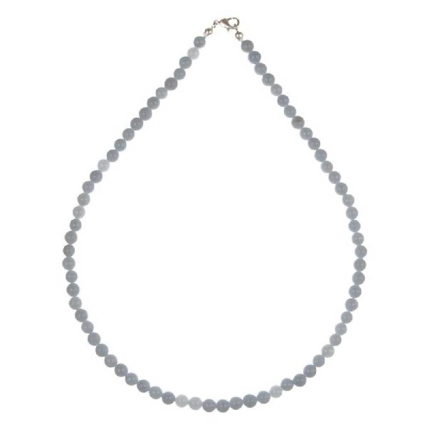 Collier en angélite - Perles rondes. - Photo n°1
