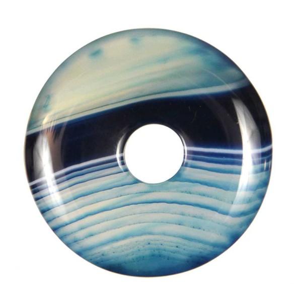 Donut Pi Chinois en agate colorée bleue pour pendentif. - Photo n°2