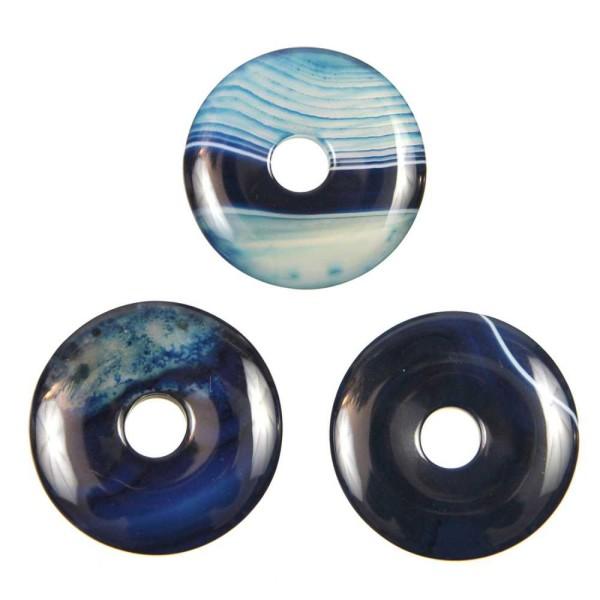 Donut Pi Chinois en agate colorée bleue pour pendentif. - Photo n°3