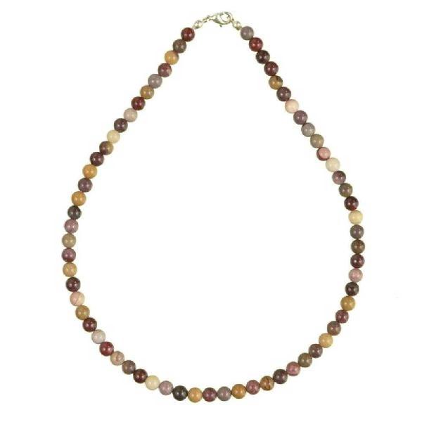 Collier en jaspe mokaite - Perles rondes. - Photo n°2