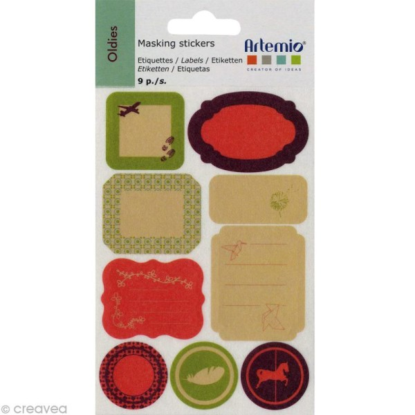 Masking Tape Stickers Oldies - 9 motifs repositionnables - Photo n°2