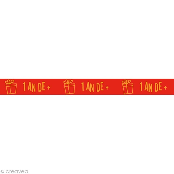 Masking tape Kids - 1 an de plus Rouge 15 mm x 10 m - Photo n°1