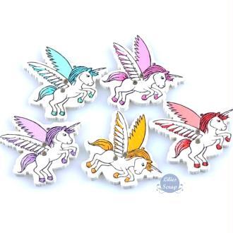 8 Boutons licornes en bois peint 3,2 cm - 2 trous