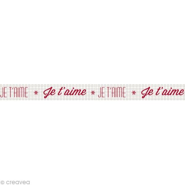 Masking tape Love - Je t'aime Gris 15 mm x 10 m - Photo n°1