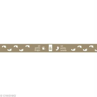 Masking tape Boy - 10 petits doigts Gris clair 15 mm x 10 m
