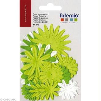 Fleurs en papier - Mix Vert 24 pcs