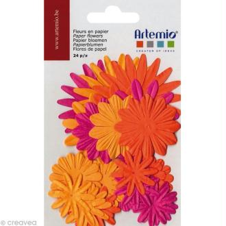 Fleurs en papier - Mix Orange 24 pcs