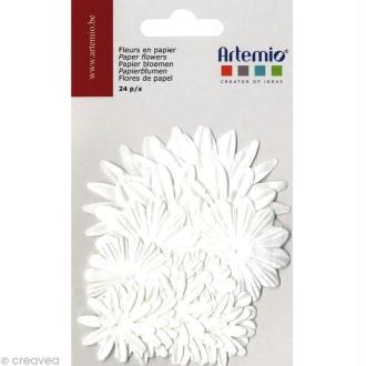 Fleurs en papier - Mix Blanc 24 pcs