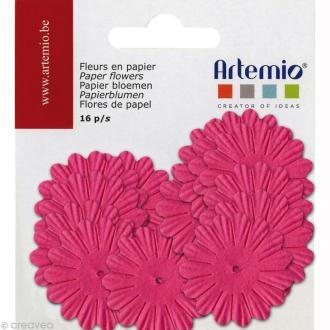 Fleurs en papier - Mix Rose fuchsia 16 pcs