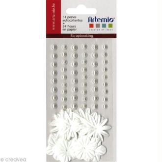 Fleurs en papier et perles autocollantes Blanc - 75 pcs