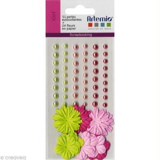 Fleurs en papier et perles autocollantes Girl - 75 pcs