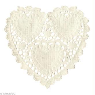 Napperon en papier dentelle Coeur 10 cm - 20 pcs