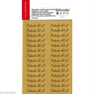 Etiquettes kraft autocollantes Love - 112 pcs