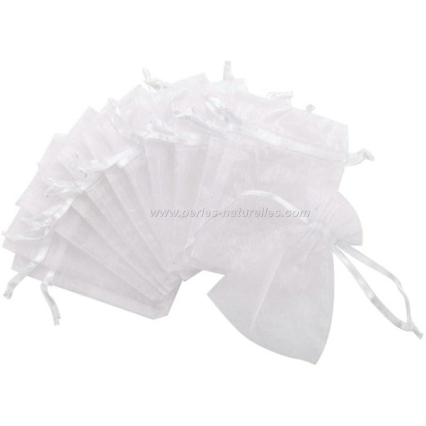 9x12cm - Blanc - 10 ou 100 Pochettes Organza - Photo n°2
