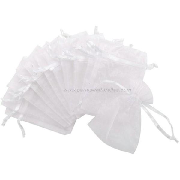 9x12cm - Blanc - 10 ou 100 Pochettes Organza - Photo n°1