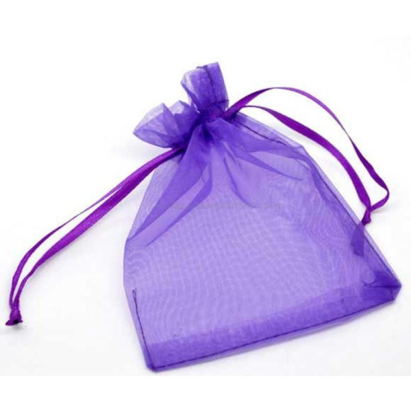 9x12cm - Violet - 10 ou 100 Pochettes Organza - Photo n°1