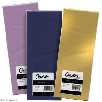 Papier de soie Creavea - Différents coloris - 50 x 75 cm - 5 feuilles