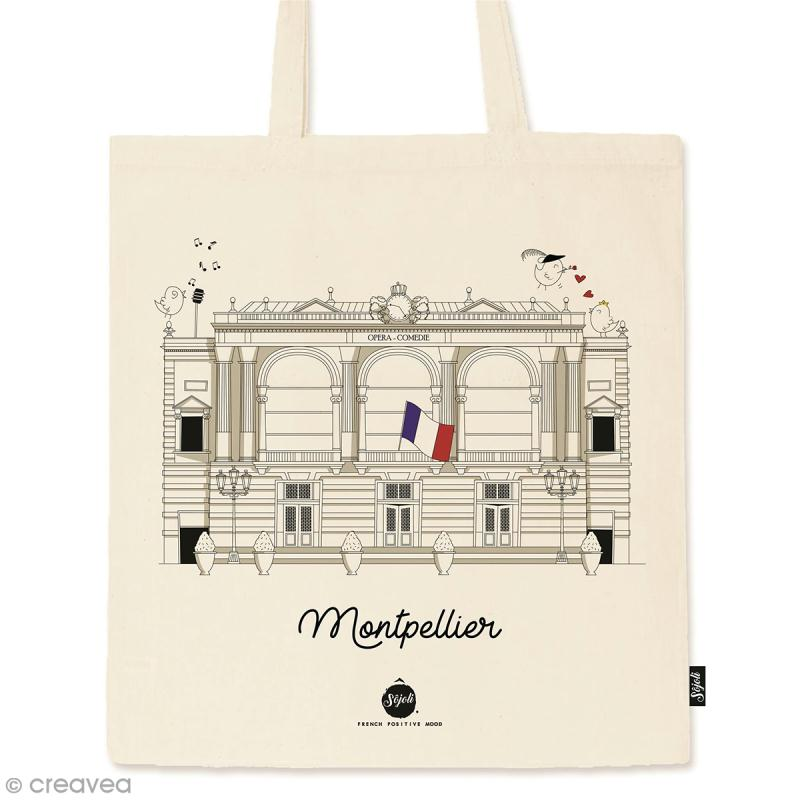 Tote bag Collection Montpellier - Opéra Comédie - 36 x 42 cm - Photo n°1