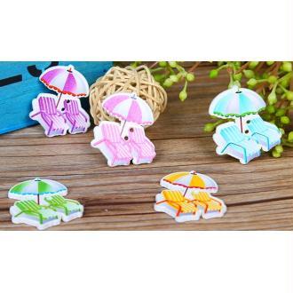 8 Boutons transats et parasol en bois 3,5 cm - 2 trous