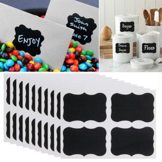 16 Etiquettes ardoise tag noires pour personnaliser bocaux...