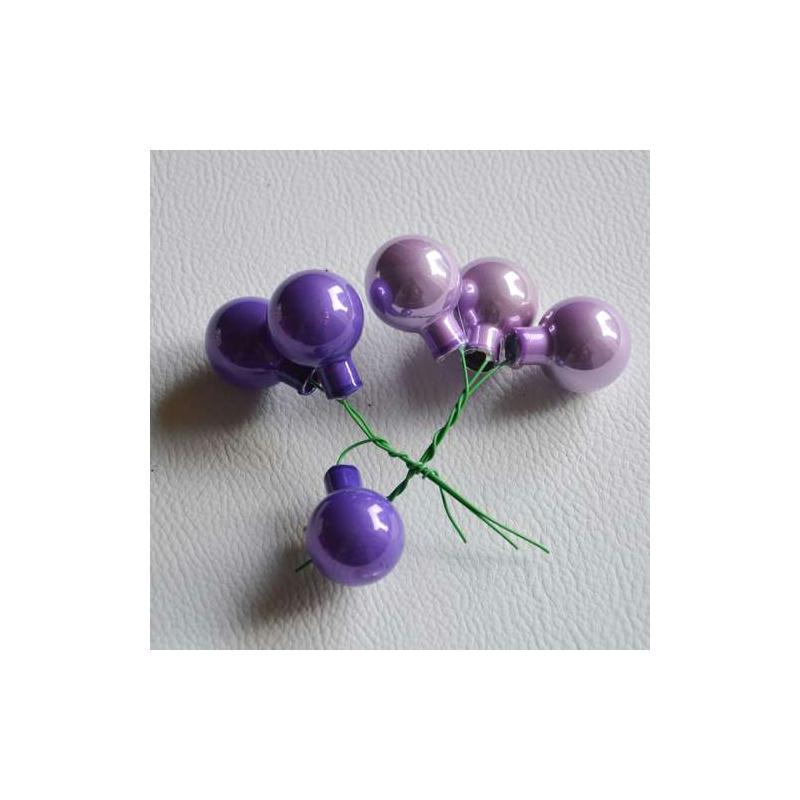 Petites boules de Noël violettes. Lot de 6. Diam.