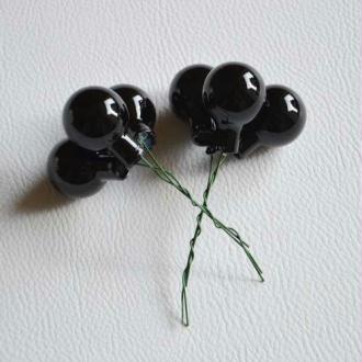 Petites boules de Noël noires. Lot de 6. Diam. environ 25 mm.
