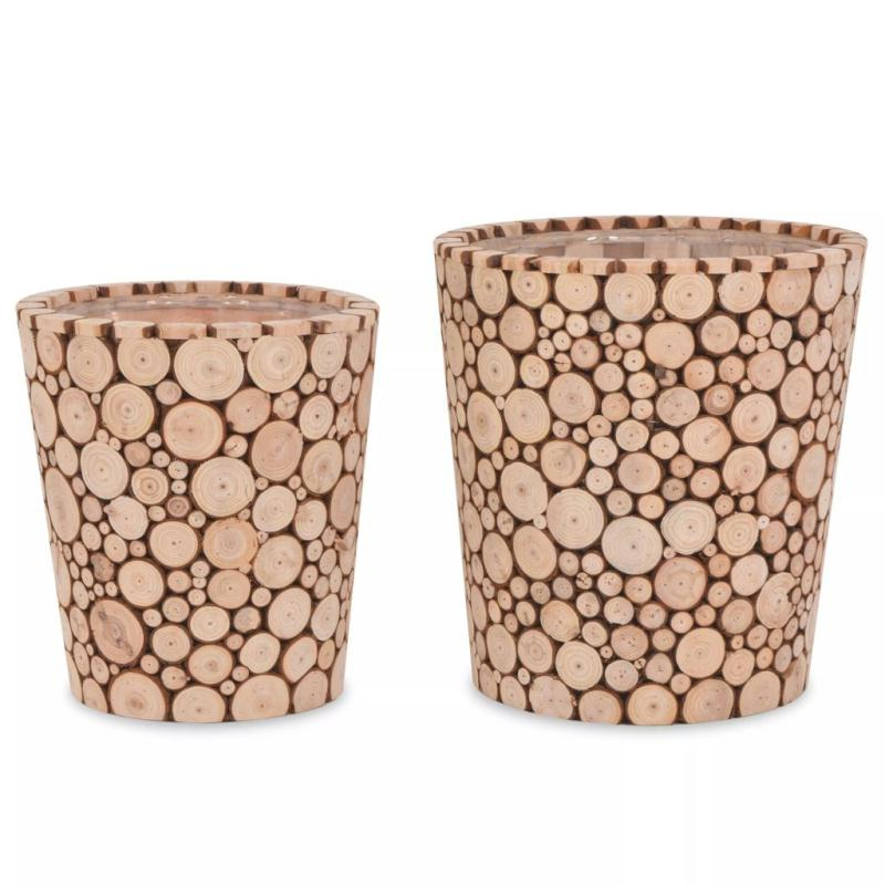 Vidaxl ensemble de jardini re 2 pcs bois v ritable pots for Cendre de bois au jardin