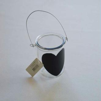 Photophore cœur noir. 10 cm hauteur 6 cm diamètre intérieur-