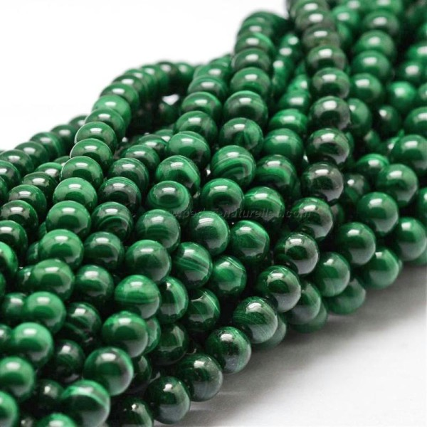 8mm - 10 Perles Malachite Non Teintes 8mm - Photo n°2