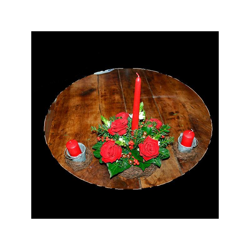 kit centre de table no l rouge et or d co table fleur. Black Bedroom Furniture Sets. Home Design Ideas