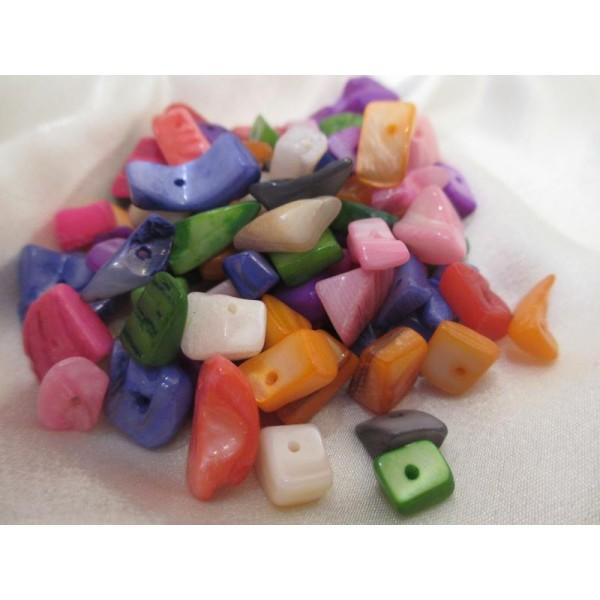 Perles chips coquillages, nacrées,assortiment 55/60 pièces,formes irrégulières LIVRAISON GRATUITE - Photo n°1