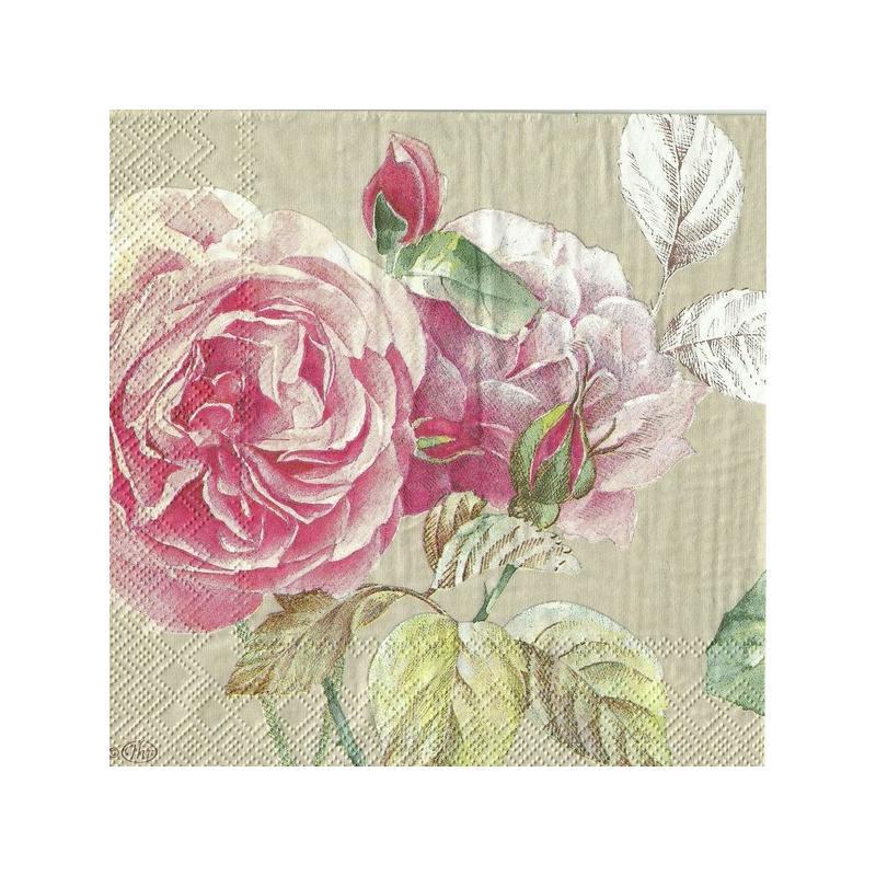 4 serviettes en papier d coupage collage 33 cm teau rose f211 serviette fleurs creavea. Black Bedroom Furniture Sets. Home Design Ideas