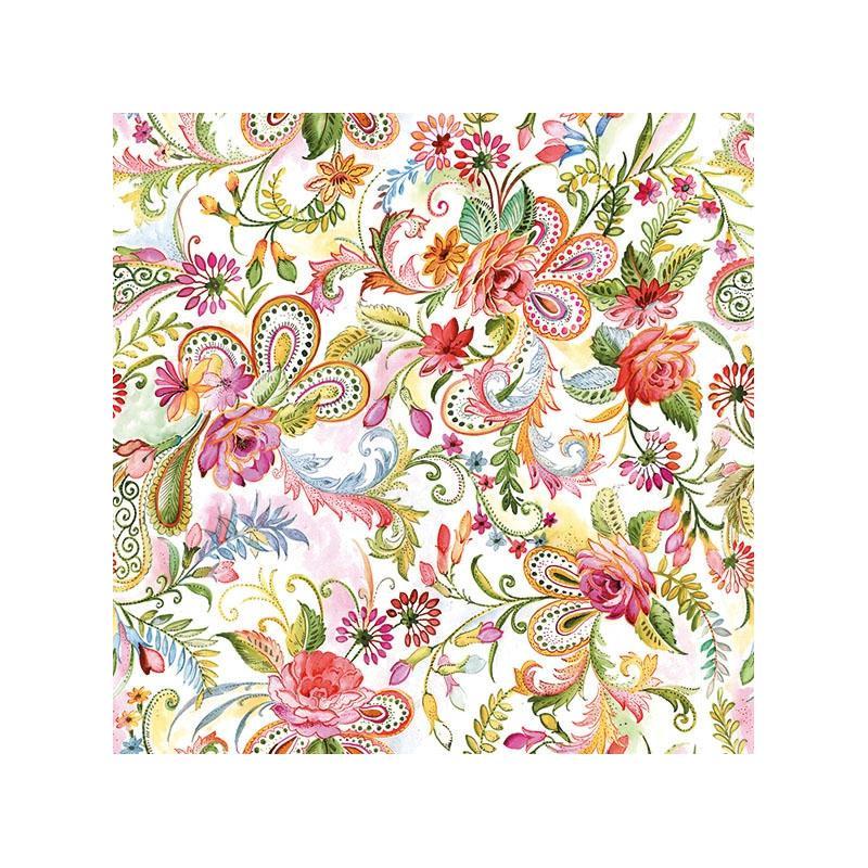 4 serviettes en papier d coupage collage 33 cm gypsy f214 serviette fleurs creavea. Black Bedroom Furniture Sets. Home Design Ideas