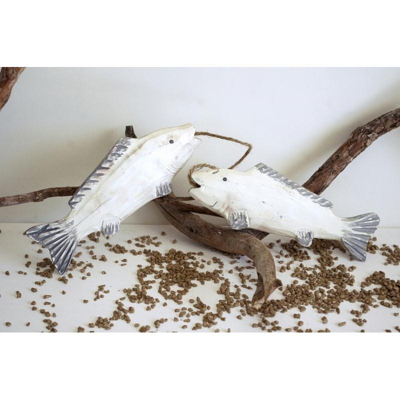 Poisson d coratif en bois vieilli lot 2 for Deco poisson bois