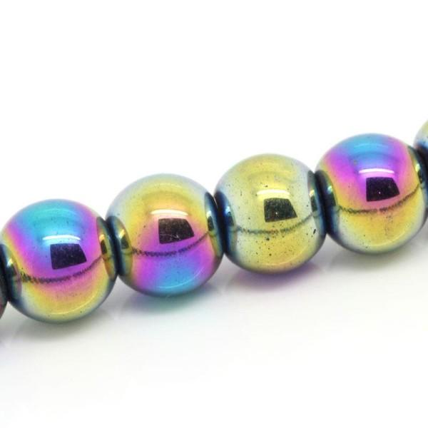 10 Perles Hematite Arc en Ciel 8mm Non-Magnetique Creation bijoux, bracelet, Collier - Photo n°1