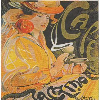 4 Serviettes en papier Publicité Grand Café Format Cocktail