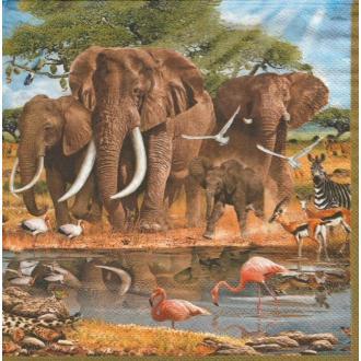 4 Serviettes en papier éléphants zèbre Flamants Gazelle Afrique Format Lunch