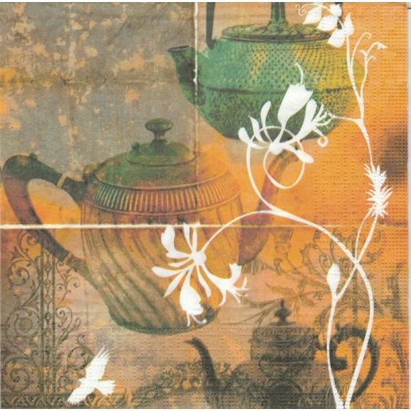 4 Serviettes en papier Art du Thé Format Cocktail - Photo n°1