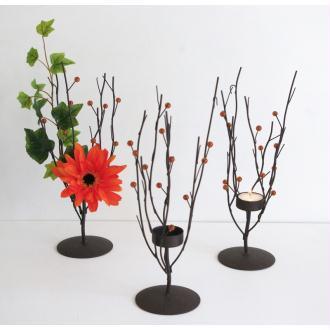 Photophore bougeoir arbre simple H33xL14xL9cm fer et perles