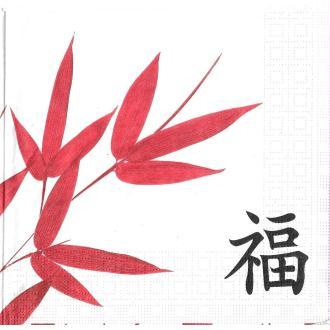 4 Serviettes en papier Asie Bambou Format Lunch