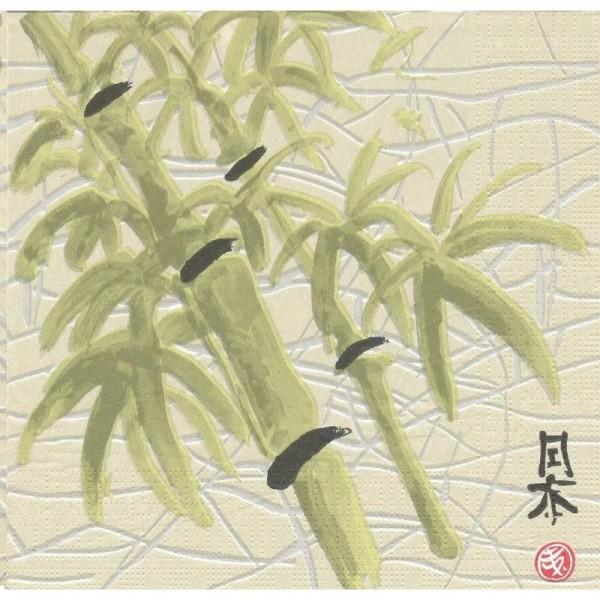 4 Serviettes en papier Asie Bambou Format Lunch - Photo n°1