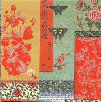 4 Serviettes en papier Fleurs Papillon Asie Format Cocktail