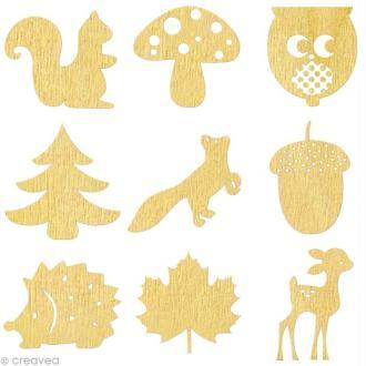 Set de mini silhouettes en bois Automne x 27
