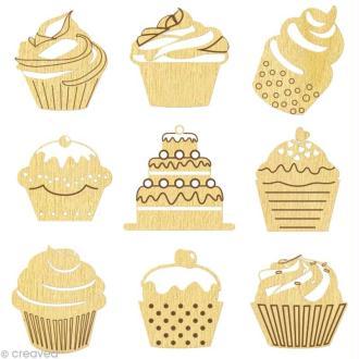 Set de mini silhouettes en bois Cupcake x 27