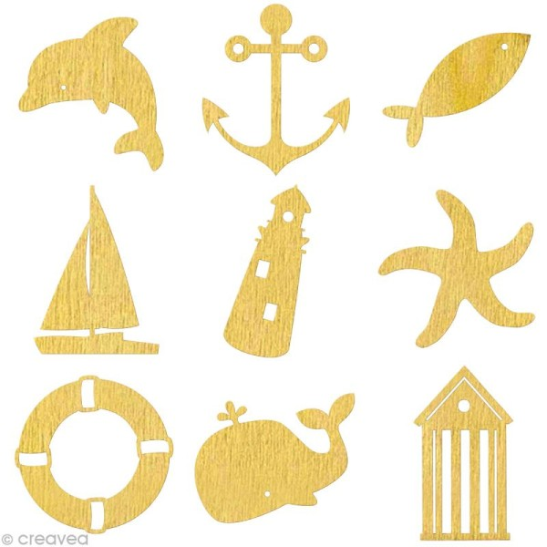 Set de mini silhouettes en bois Mer x 27 - Photo n°1