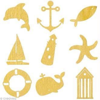 Set de mini silhouettes en bois Mer x 27